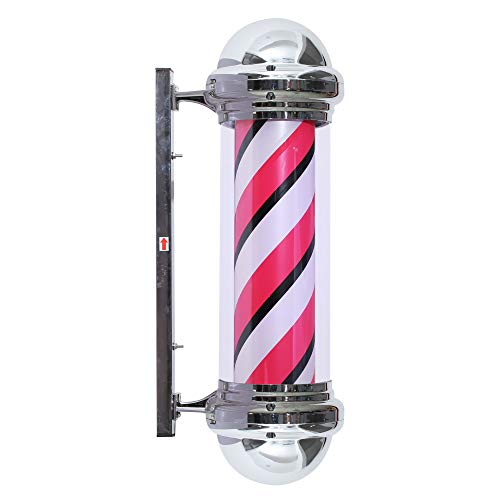 BarberPub Barber Pole Rotating LED Strips Metal Hair Salon Sign L016 (Pink White Black)