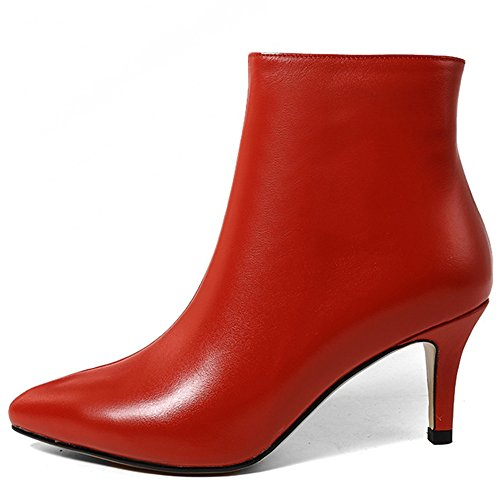 Seven Red Stiletto Genuine Booties Heel Classic Women's Nine Toe Pointed Handmade Leather Basic Ankle 6wUOdUx1Sq