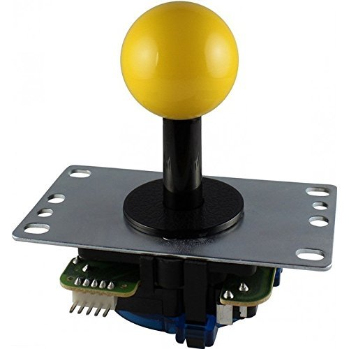 SANWA DENSHI Board Type Silent Joystick Lever of Low Repulsion Yellow JLF-TPRG-8AYT-SK-Y w/ Flat Iron Plate Shaft Cover 8 directions guide plate