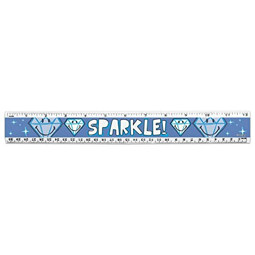 Sparkle Diamond Smiley Face Wedding Anniversary Officially Licensed 12 Inch Standard and Metric Plastic Ruler ()