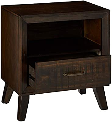 Brown Benzara BM171991 Rubberwood Nightstand with Drawer and Shelf
