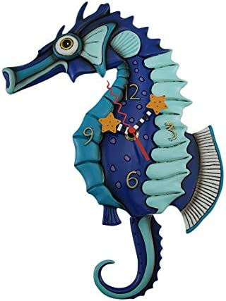 Allen Designs Salty Seahorse Blue Pendulum Wall Clock