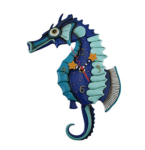 (Allen Designs Resin Wall Clocks Allen Designs Salty Seahorse Blue Pendulum Wall Clock 8.5 X 13 X 1.5 Inches Blue)