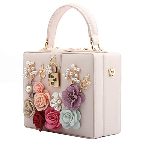LETODE Women Flower Clutches Evening Bags For Wedding Party Handbag Purse (PINK)