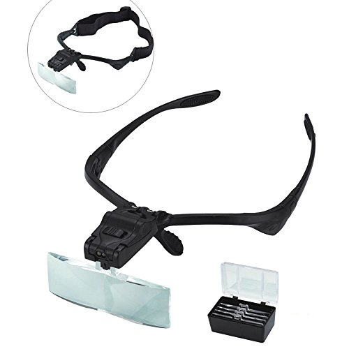 AORAEM Magnifier Glasses w/LED Light for Lash Extensions - 3 Lenses Magnifier Spectacles (1.5x, 2.5x, 3.5x) ()