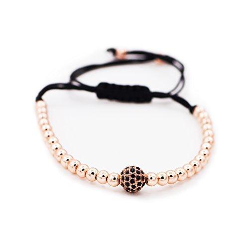Sundear Rose Gold Plated CZ Beads Braided String Macrame Bracelet Unisex Cubic Zirconia Braiding Balls Handmade Bracelet
