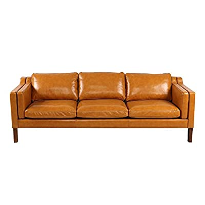 "Kardiel Monroe Mid-Century Modern Sofa 3 Seat, Tan Aniline Leather - Brand: KARDIEL; Frame: Traditional hardwood box frame construction; Seat Platform: Metal Sinuous No Sag ""S"" Coil suspension system encased in High Density Foam; Foam Type: Multi density foam seat and back cushions wrapped in silk layer provide comfort and cushion structure memory Down Feather Seat: Heavy Multi-density foam core topped with a plush quilted down top layer; Seat Cushion Style: Fitted removable seat, back and arm cushions; Cushion feature: Zippered back and seat cushions Leather Type: 100% upholstered in Genuine Top Grain Premium Soft Aniline Leather; Stitch Edge Type: Piping in Top Grain Premium Soft Aniline Leather - sofas-couches, living-room-furniture, living-room - 41UYXaNJWvL. SS400  -"