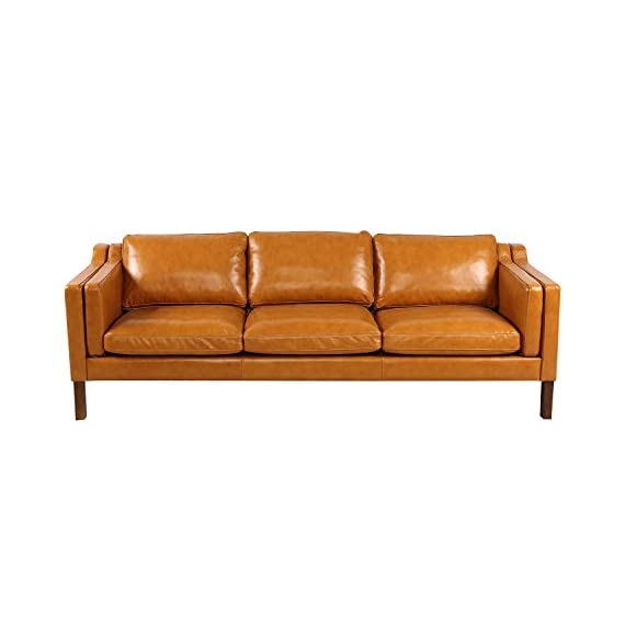 "Kardiel Monroe Mid-Century Modern Sofa 3 Seat, Tan Aniline Leather - Brand: KARDIEL; Frame: Traditional hardwood box frame construction; Seat Platform: Metal Sinuous No Sag ""S"" Coil suspension system encased in High Density Foam; Foam Type: Multi density foam seat and back cushions wrapped in silk layer provide comfort and cushion structure memory Down Feather Seat: Heavy Multi-density foam core topped with a plush quilted down top layer; Seat Cushion Style: Fitted removable seat, back and arm cushions; Cushion feature: Zippered back and seat cushions Leather Type: 100% upholstered in Genuine Top Grain Premium Soft Aniline Leather; Stitch Edge Type: Piping in Top Grain Premium Soft Aniline Leather - sofas-couches, living-room-furniture, living-room - 41UYXaNJWvL. SS570  -"