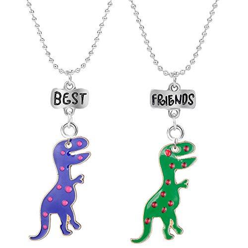 Best Buds BFF Best Friends Cannabis Pot Matching Heart Pendant Necklaces Valentine Forever Friendship Birthday Gift (Dinosaur) (Dinosaur Best Friend Necklaces)