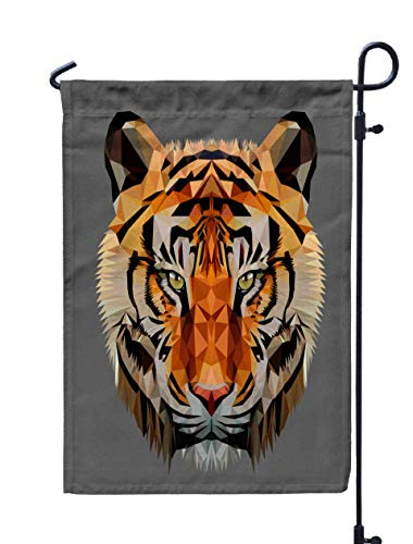 Musesh 12x18 Flower Garden Flag,Low Poly Triangular Tiger Head Dark Background Eps Isolated Polygonal Style Trendy Modern Logo Design for Home Outdoor Decorative with Double-Sided Printing -