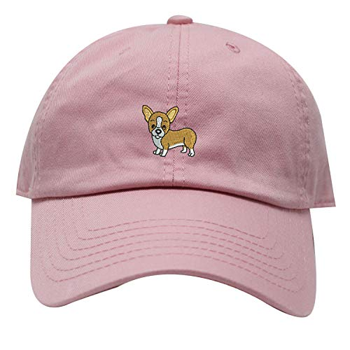 - INK STITCH Corgi Dog Embroidered Logo Unstructured Baseball Caps - 21 Colors (Pink)