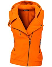 Doublju Womens Hooded Zip-Up Vest with Zipper Detail and Plus Size