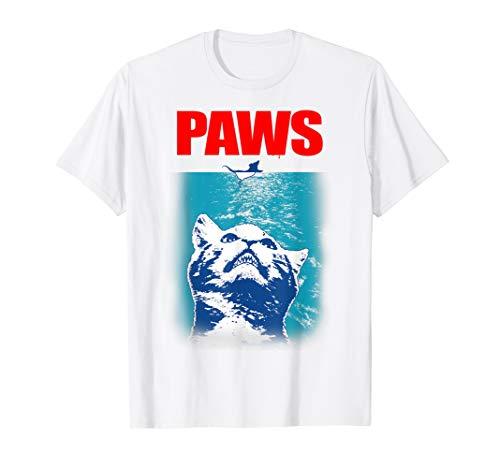 Funny Tee Paws Parody Tees for Cat Kitten Shark & Cat Lovers T-Shirt (Kitty Jaws Shirt)