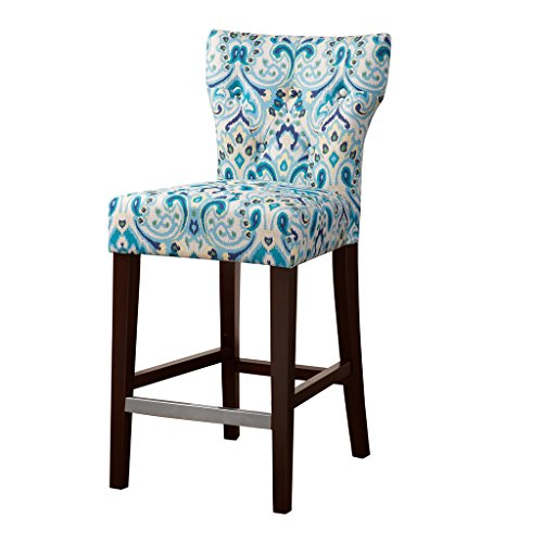 "Madison Park FPF20-0402 Avila 38.25"" Counter Height Barstool with Backrest Modern Solid Wood, Metal Kickplate Footrest, Upholstered Foam Seat, Linen Pub Chair, See Below Below, Blue Damask"