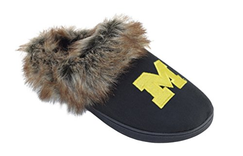 Slip Footnotes Slippers of Michigan University Scuff Campus Trim on Fur with Womens Faux qX8twId