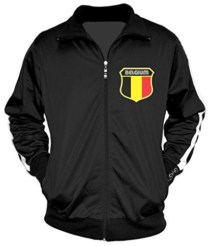 - Amdesco Men's Belgian Pride, Belgium Track Jacket, Black w/One Stripe Large