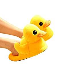 Cute big yellow Duck Plush Slippers/Winter Warm Plush Rubber Duck boots