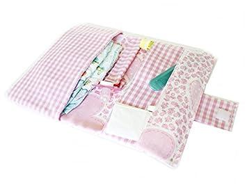 Bolso portapañales perfecto para el paseo. Porta pañales, capacidad para tres pañales, toallitas, crema y chupete. Hecho a mano: Amazon.es: Bebé
