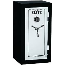 Stack-On E-040-SB-E Elite Junior Executive Fire Safe with Electronic Lock, 3 shelves, Matte Black/Silver