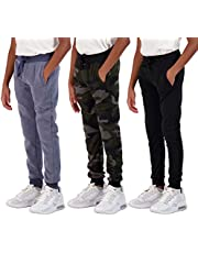 Real Essentials 3 Pack: Boys Youth Active Athletic Soft Fleece Jogger Sweatpants