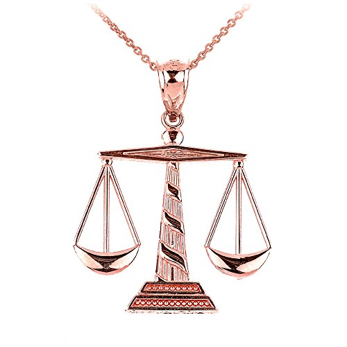 Scales 14k (14k Rose Gold Scales of Justice Pendant Necklace, 18