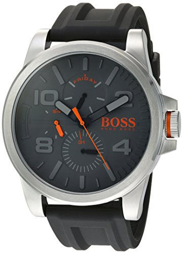 HUGO BOSS Men's 'DETROIT SPORT' Quartz Stainless Steel and Silicone Casual Watch, Color:Grey (Model: 1550007)