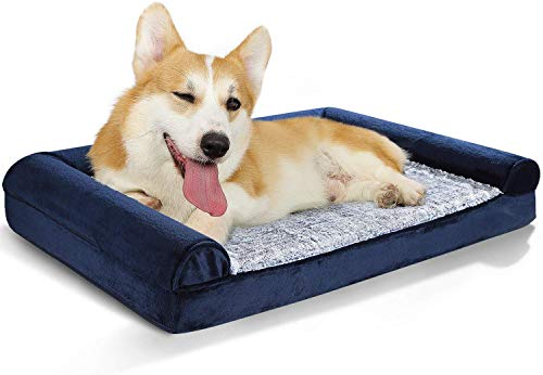 Dog Bed Orthopedic Pet Bed - Washable Dog Couch Sofa Bed with Removable Cover & Waterproof Lining, Foam Pet Dog Bed with Joint-Relief Bolsters for Dogs Cats, Anti-Slip Base, Plush Faux Fur (36x27in)