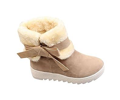 Womens Fashion Side Zipper Faux Suede Fur Platform Hidden Wedges Ankle High Snow Boots