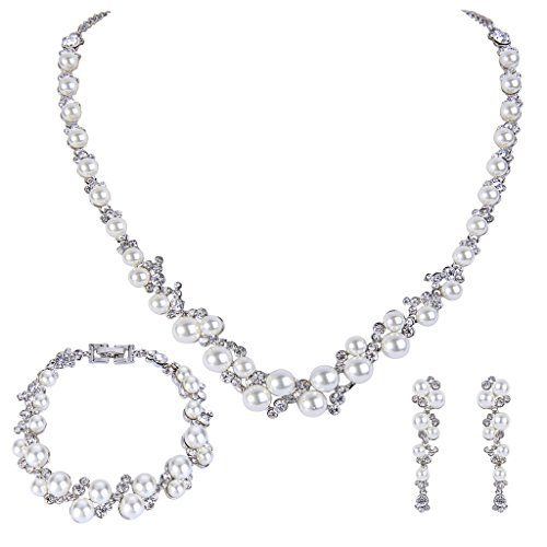 Pearl Crystal Bridal Necklace Earrings Bracelet Set Silver-Tone Ivory Color ()