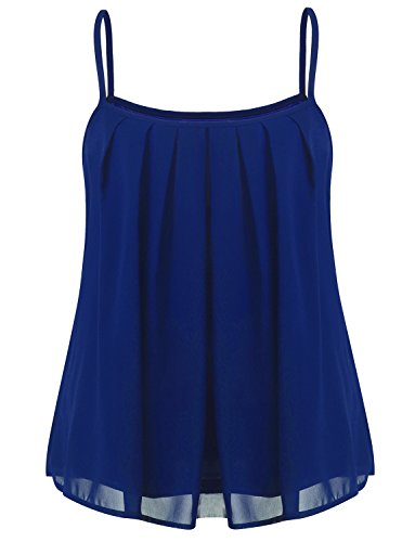 Hount Woman's Casual Summer Sexy Sleeveless Pleated Chiffon Tank Tops (Royal Blue, XL)