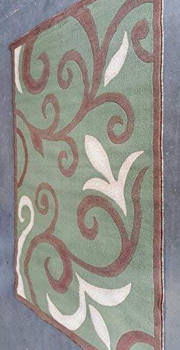 emirates Modern Door Mat Area Rug Contemporary Sage Green Beige Brown Floral Design 525 2 Feet X 3 Feet