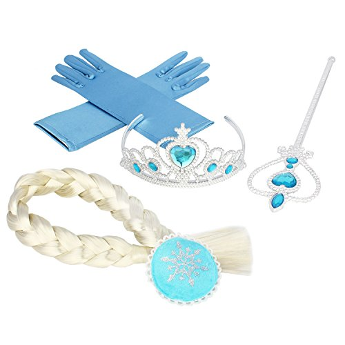 Princess Dress up Accessories - 4 Pieces Gift Set Tiara Crown Wig Wand Gloves (Hair clip style) (Frozen Gloves)