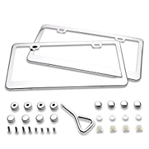 Ohuhu 2 Stainless Steel Polish Mirror License Plate Frame + Chrome Screw Caps