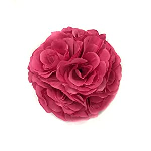 Ben Collection Fabric Artificial Flowers Silk Rose Pomander Wedding Party Home Decoration Kissing Ball Trendy Color Simulation Flower (Fuchsia, 20cm) 111