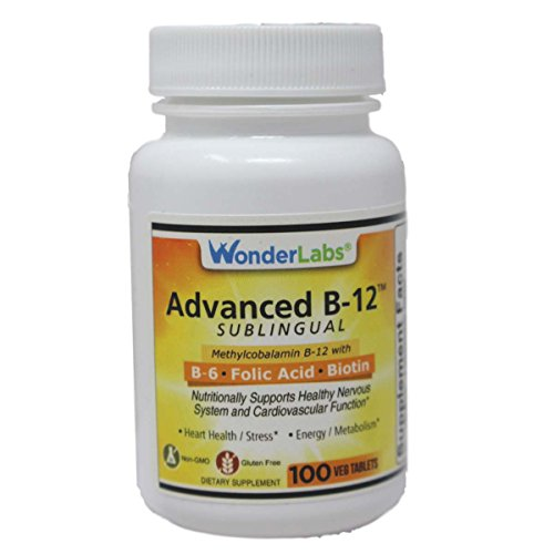 Sublingual Vitamin B12 (1000 mcg), B6 (5mg), Folic Acid(400 mcg) & Biotin (25mcg) - 100 Sublingual Tablets - Formulated with methylcobalamin Vitamin B-12.