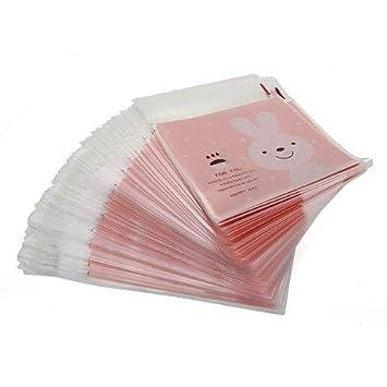 100 x Bolsa Bolsita de Chuches OPP Color Rosa Conejo para ...