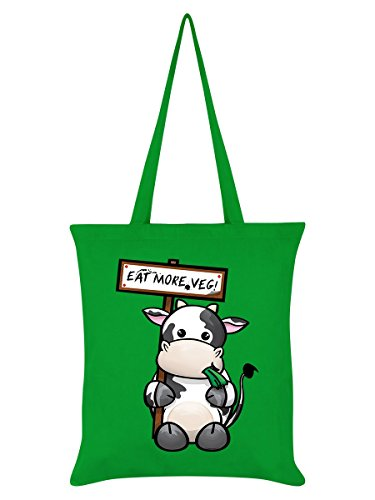 Borsa Tote Eat More Veg Vegan Vegetariano 38 x 42 cm in verde