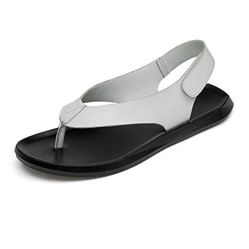 vera chiuso Hook suola uomo amp; White Loop 37 da sandali sandali Wenquanshoes strap Da antiscivolo casual spiaggia estate White 5 pelle pantofole in uomo 7n8axU