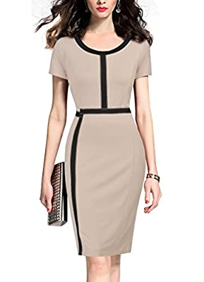 REPHYLLIS Women's Vintage Business Slim Bodycon Pencil Causal Dress
