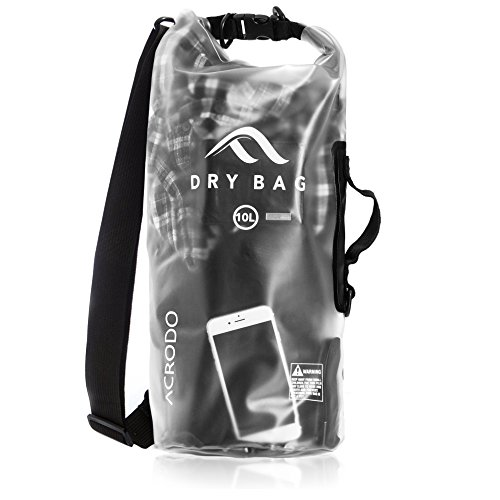 Acrodo Dry Bag Transparent & Waterproof - Black 10 Liter Floating Sack for Beach, Kayaking, Swimming, Boating, Camping, Travel & Gifts