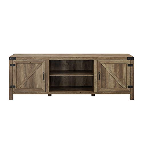 "Walker Edison Furniture Company Modern Farmhouse Barn Wood Stand with Cabinet Doors TV's up to 80"" Living Room Storage Shelves Entertainment Center, 70 Inch, Reclaimed Barnwood"