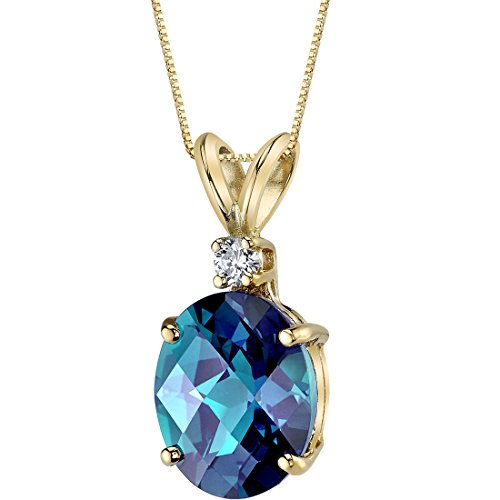 14 Karat Yellow Gold Oval Shape 3.25 Carats Created Alexandrite Diamond Pendant ()