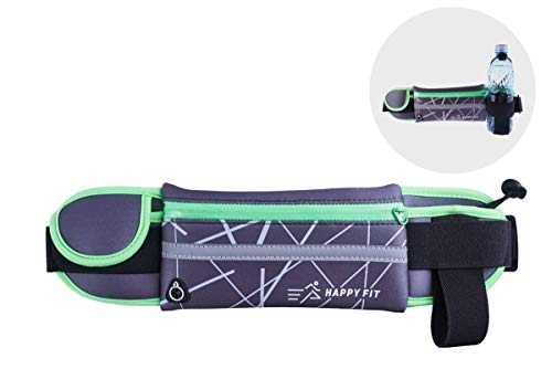 HAPPY FIT Best Waist Running Belt for Phone with OPTIONAL Water Bottle Holder| Fanny Pack for Men&Women| Pouch Suitable for iPhone Samsung and more| Waterproof Sports Bag for Fitness, Walking, Cycling