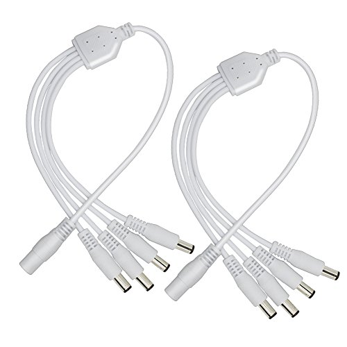 2Pack White 1 Male to 4 Female Way DC Power Splitter Cable Barrel Plug 5.5x2.1mm for CCTV Cameras LED Light Strip and more