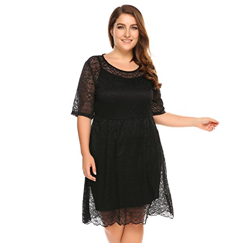 IN'VOLAND Plus Size Half Sleeve Floral Lace Midi Party Dress w/ Camisole - Womens Rould Neck Double Layer Cami Dress Cocktail Outfit Club Wear (Cami Double Layer)