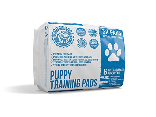 White Dog Training Pad (Bulldogology Puppy Pee Pads with Adhesive Sticky Tape - Large Dog Training Premium Wee Pads (24x24) 6 Layers with Extra Quick Dry Bullsorbent Polymer Tech (50-Count))