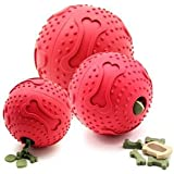 Petpany w2 Dog toys Leakage ball, Treat Chewing FeedBallBite Resistant Soft Rubber Bouncy Ball Treat Ball Dog Toys,IQ Treat Chewing FeedBall Chew Treat Dispensing Holder Dog Puppy Toy Pet (3 Inch)