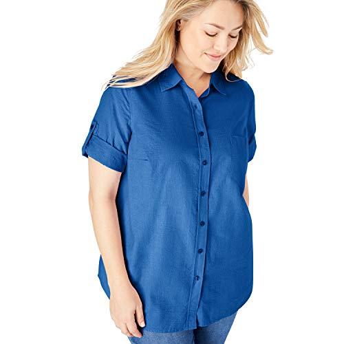 Woman Within Women's Plus Size Petite Short Sleeve Button Down Seersucker Shirt - Dark Sapphire, L