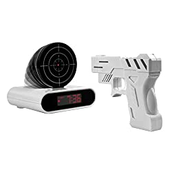 IDS Home New Gun Shoot to Stop Game Alarm Clock LCD Screen Novelty Clock - White