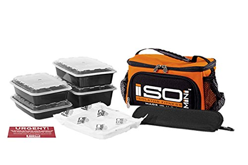 Orange Mini Dish (Isolator Fitness 2 Meal ISOMINI™ Meal Prep Management Insulated Lunch Bag Cooler MADE IN USA ORANGE w/BLK w/BPAfree/microwave/dishwasher/freezer safe/stackable Meal Prep Containers ISOBrick™ Strap)